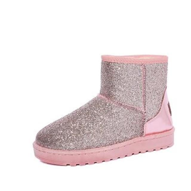 Inverno botas de neve mulheres à prova d' água quente de pelúcia tornozelo botas de salto plano de couro pu meninas algodão sapatas da escola
