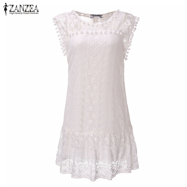 Zanzea Summer Dress 2017 Sexy Women Casual Sleeveless Beach Short Dress Tassel Solid White Mini Lace Dress Vestidos Plus Size