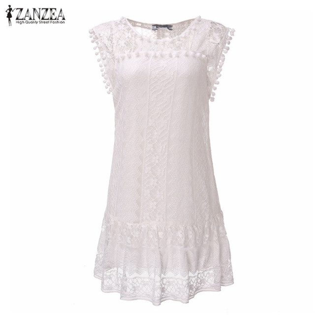 Dress Sexy Casual Sleeveless Beach Short Dress Tassel Solid White Mini Lace  Dress Vestidos Plus Size f238cc8cb