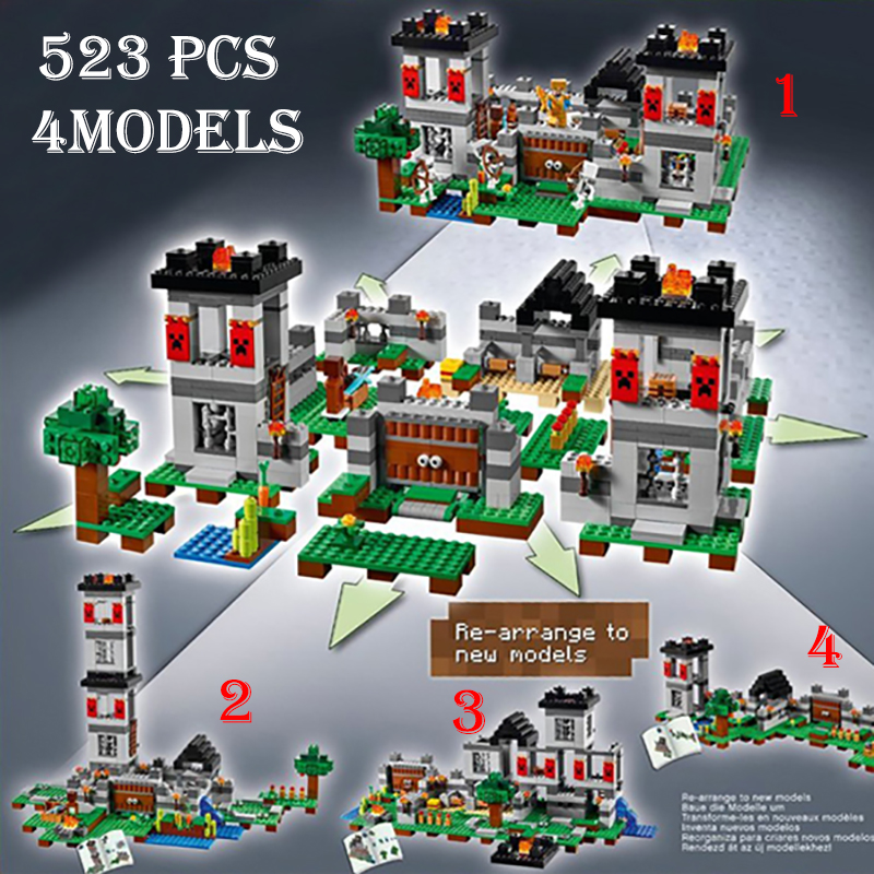 Model building kits compatible with lego 21127 18005 my worlds MineCraft The Fortress Educational toys hobbies for children model building kits compatible with lego the sky dragon my worlds minecraft 548 pcs model building toys hobbies for children