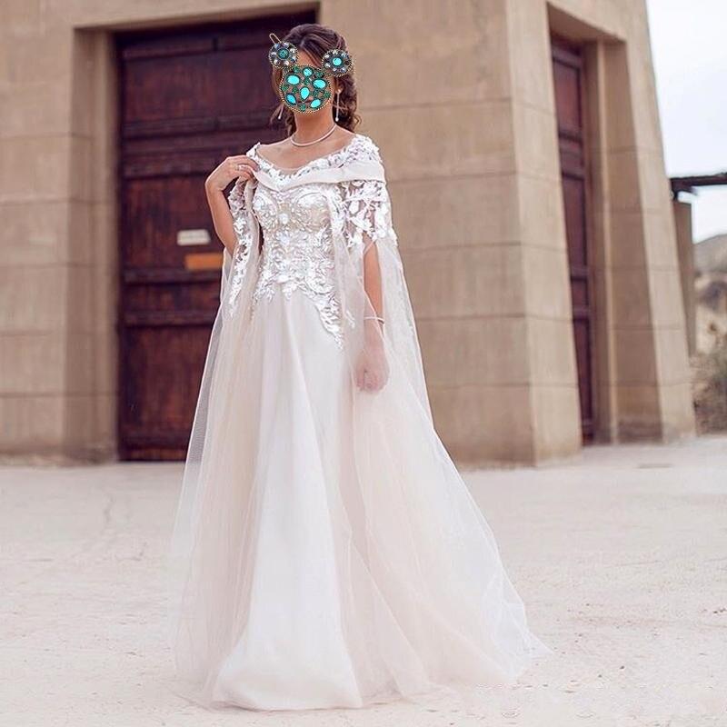 Dubai femme robe de soirée avec Cape 2018 abiye gece elbisesi perlée robe formelle élégante Tulle sur mesure robes de soirée dentelle