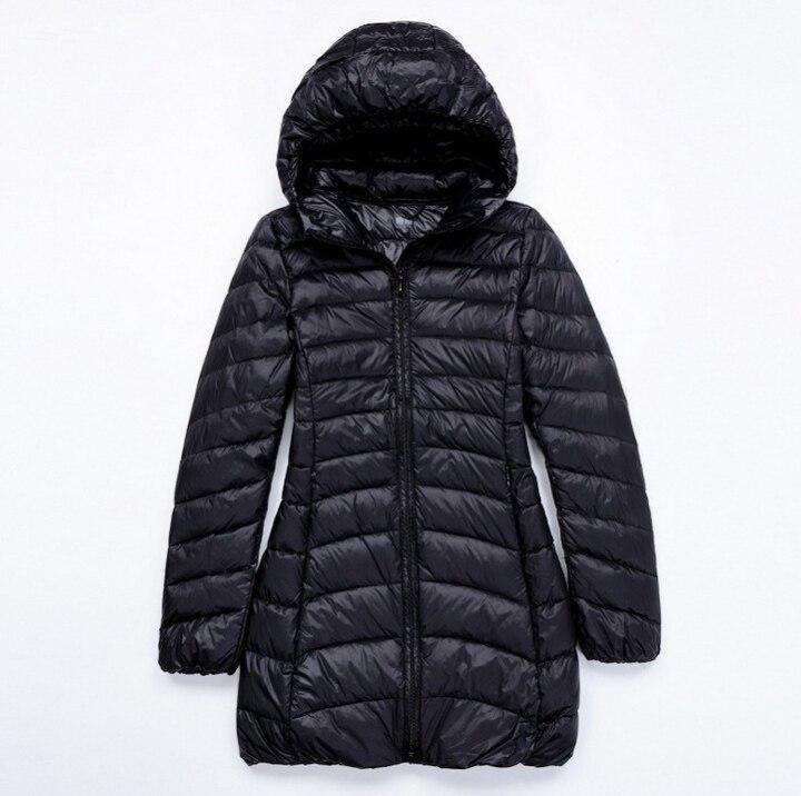 Women 90% White Duck Down Jacket Women Hooded Long Overcoat Ultra Light Down Solid Padded Jackets Warm Winter Coat Parkas