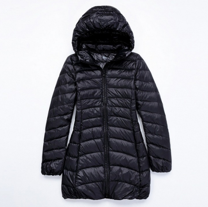 Women 90% White Duck   Down   Jacket Women Hooded Long Overcoat Ultra Light   Down   Solid Padded Jackets Warm Winter   Coat   Parkas