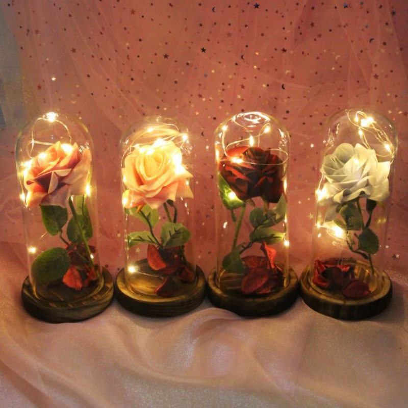 New Artificial Flower Eternal Rose with LED Light Creative Gifts For Birthday Valentine's Christmas Home Decoration
