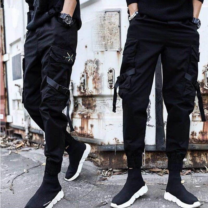 Streetwear Ribbons Casual Pants Men Black Slim Mens Joggers Pants Side-pockets Cotton Man Trousers