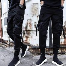 Streetwear wstążki dorywczo spodnie męskie czarne szczupłe męskie spodnie biegaczy kieszenie boczne bawełniane spodnie męskie