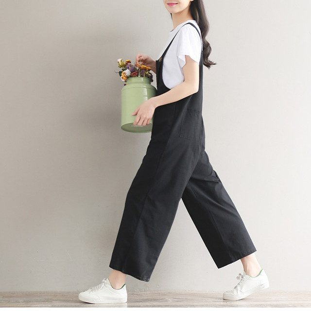 8f31d49045e3 Women s Overall 2018 Fashion Loose Strap Bib Pant Trousers Casual Loose  Solid Baggy Pants Trousers Women calca feminina