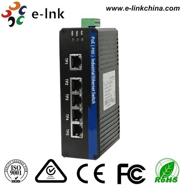 Interruptor PoE de 5 puertos Ethernet rápidos Industrial de carril Din no gestionado