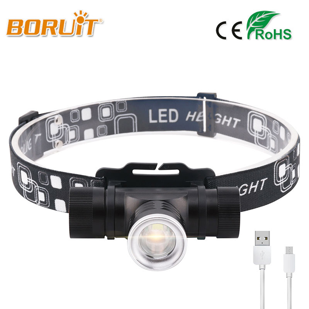 BORUIT 1000LM 5 Modes T6 LED Headlight Mini White Light Zoomable Headlamp Outdoor 18650 Head Torch For Camping Fishing Hunting boruit mini 800 lumen q5 led headlight 3 mode rechargeable zoomable headlamp white light for hunting fishing head torch lanterna