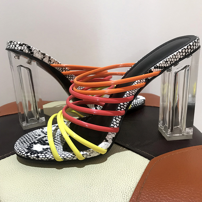 Image 5 - Kcenid 2019 New sexy multi snake print sandals women open toed mixed color transparent block heel sandals crystal slippers pumps-in High Heels from Shoes