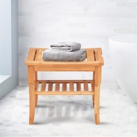 Bathroom Bamboo Shower Chair Bench with Storage Shelf Bathroom Waterproof Shower Bath Chair Stool US Free Shipping BA7268