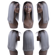 USEXY Human Hair Wigs For Black Women 13*4 Lace Front Wig Remy Peruvian Short Bob Wig 1B/Gray Human Hair Wig
