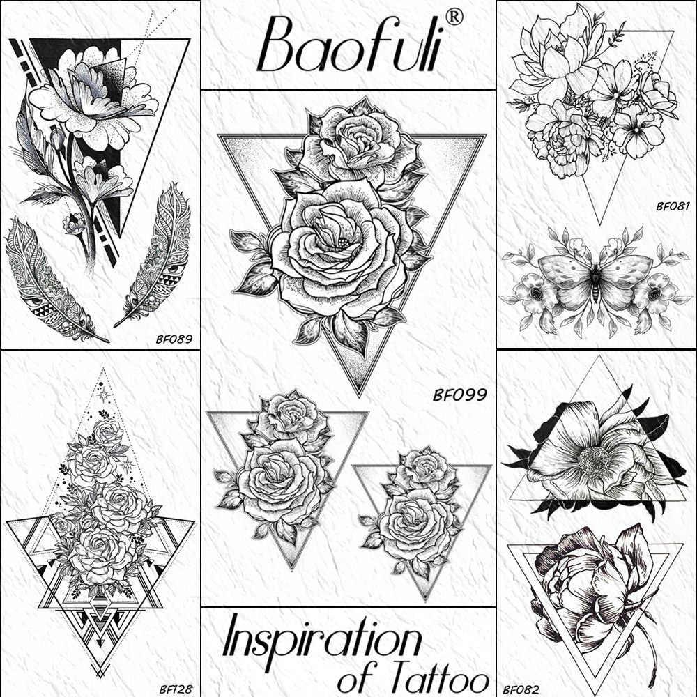 Baofuli треугольная роза цветок временная татуировка наклейка эскиз камелия черный