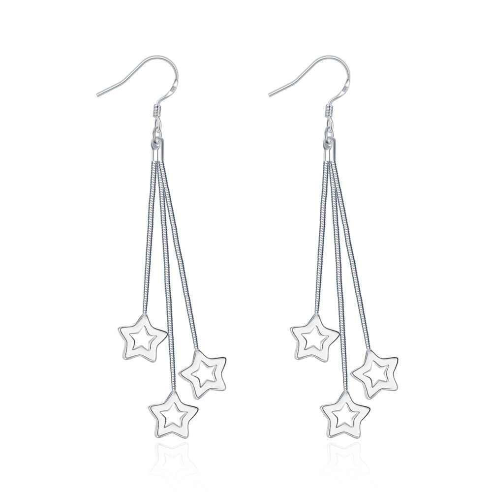 Wholesale Silver Plated Earring,Wedding Jewelry Accessories,Fashion Triple Hollow Star Silver Earrings For Women