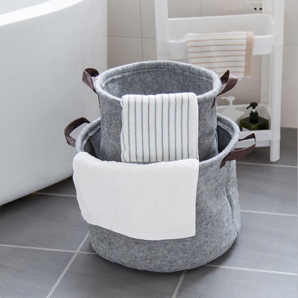 portable felt handy dirty clothes storage basket bathroom