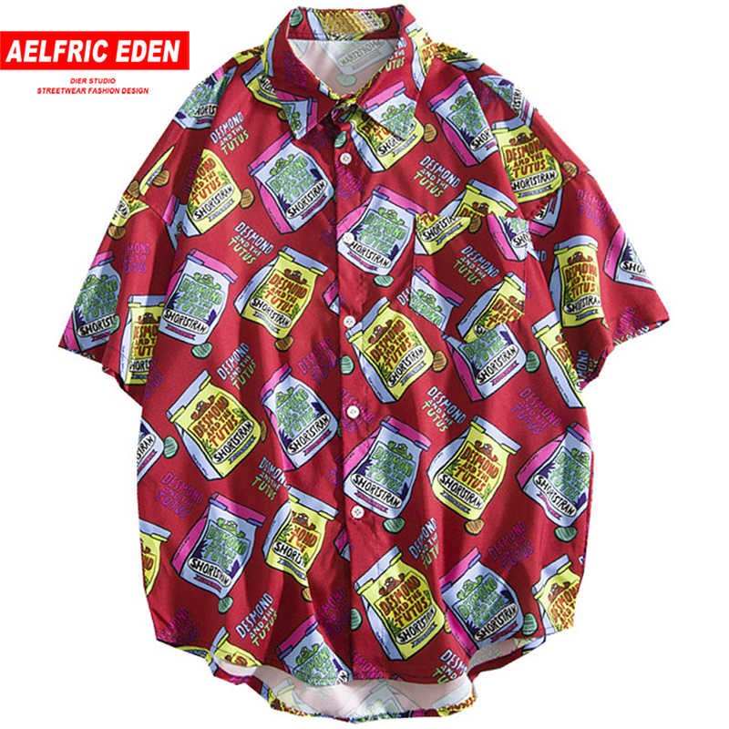 Aelfric Eden Letter Print Fashion Short Sleeve Shirt Men Women Casual Shirts 2019 Summer Hip Hop Streetwear Hawaiian Beachwear