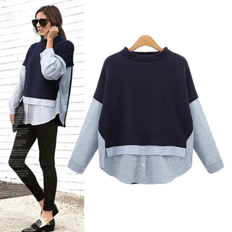 XL 5XL plus size tops woman patchwork shirt 2017 autumn winter long sleeve blouse blue shirt