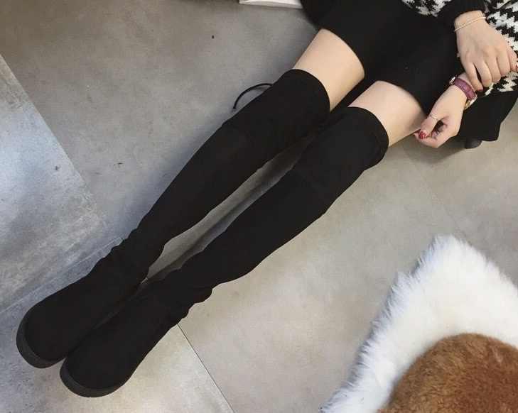 Zapatos de mujer nuevos sobre la rodilla muslo botas negras altas botas largas de mujer zapatos de cuero de gamuza de tacón bajo EUR35-41