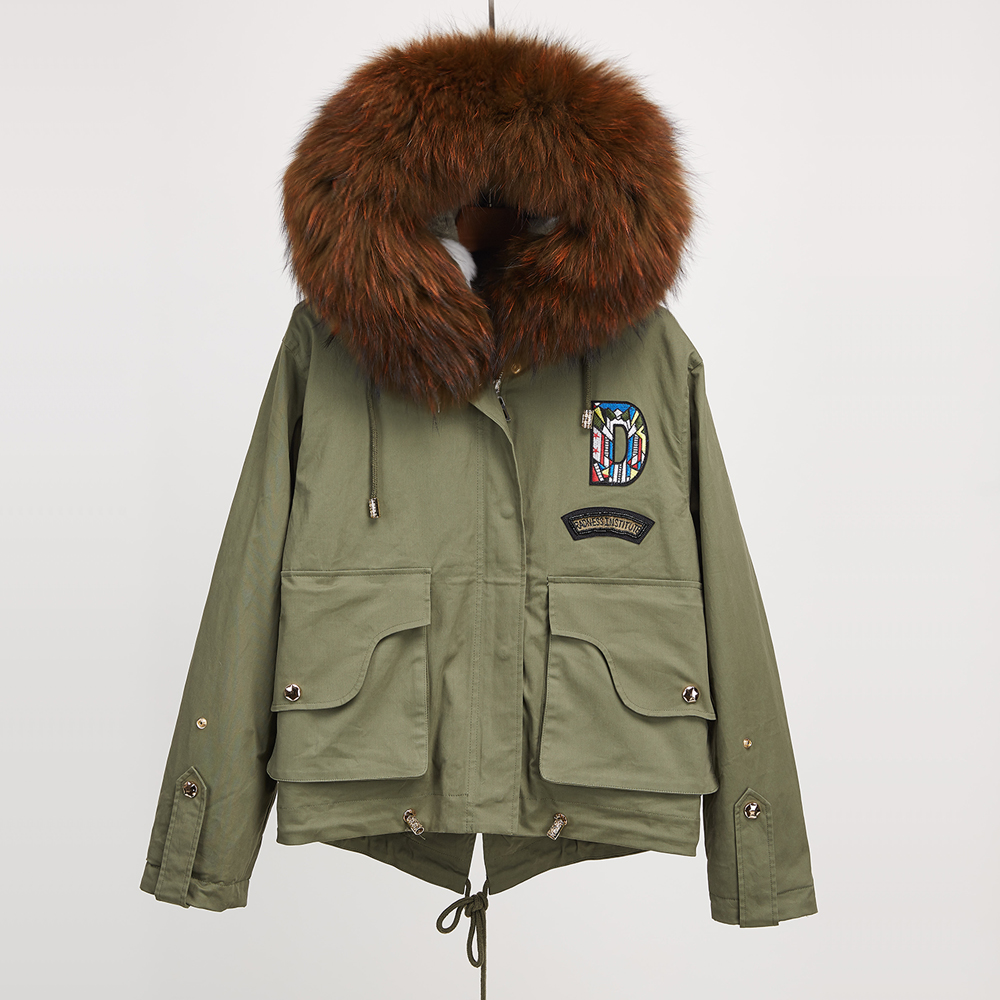 Real Raccoon Fur Collar Parka Natural Rex Rabbit Fur Liner Jacket Women Fur Coats Hooded New Jean Short Style Army Green parkas faux rabbit fur brown mr short jacket sleeveless with big raccoon collar fall coat