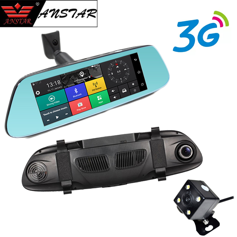 ANSTAR 3G Car Camera 7 Android 5.0 GPS Car DVR Video Recorder WiFi Bluetooth Dual Lens Rearview Mirror Registrar Dash Cam цена
