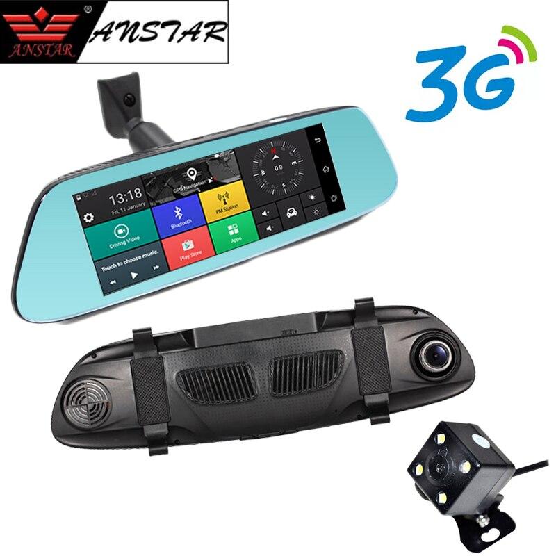 ANSTAR 3g Voiture Caméra 7 Android 5.0 GPS De Voiture DVR Enregistreur Vidéo WiFi Bluetooth Double Lentille Rétroviseur greffier Dash Cam