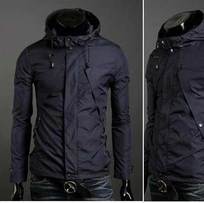 free shipping +sale 2011 NEWS Polyester,even cap,men,s adults jacket,unremovable hat,turn-down collar +size: M L XL XXL