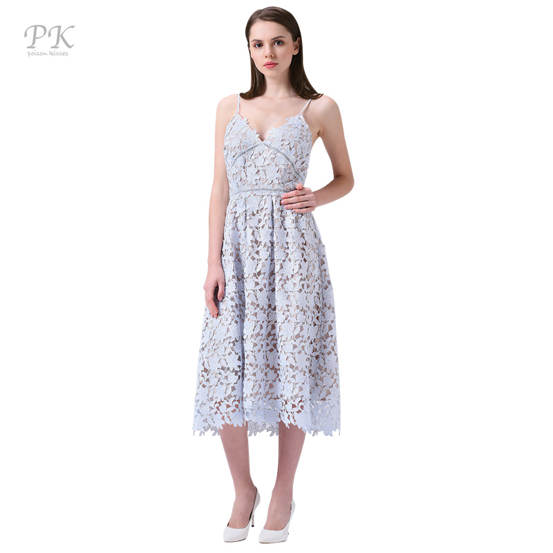 a487bf0fe37 PK light blue lace dress summer 2018 padded hollow out long party vintage  girls lace dresses