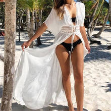 2019 New Deep V-Neck Short Sleeve High Waist Self Tie Maxi Kimono Plus Size Beach Wear Sexy White Front Open Long Blouses N528(China)