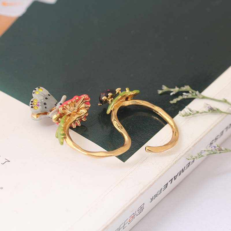 France   Enamel Glaze Three-dimensional Butterfly Dicyclo- Gold Daisy Ring AutumnModeling Unique