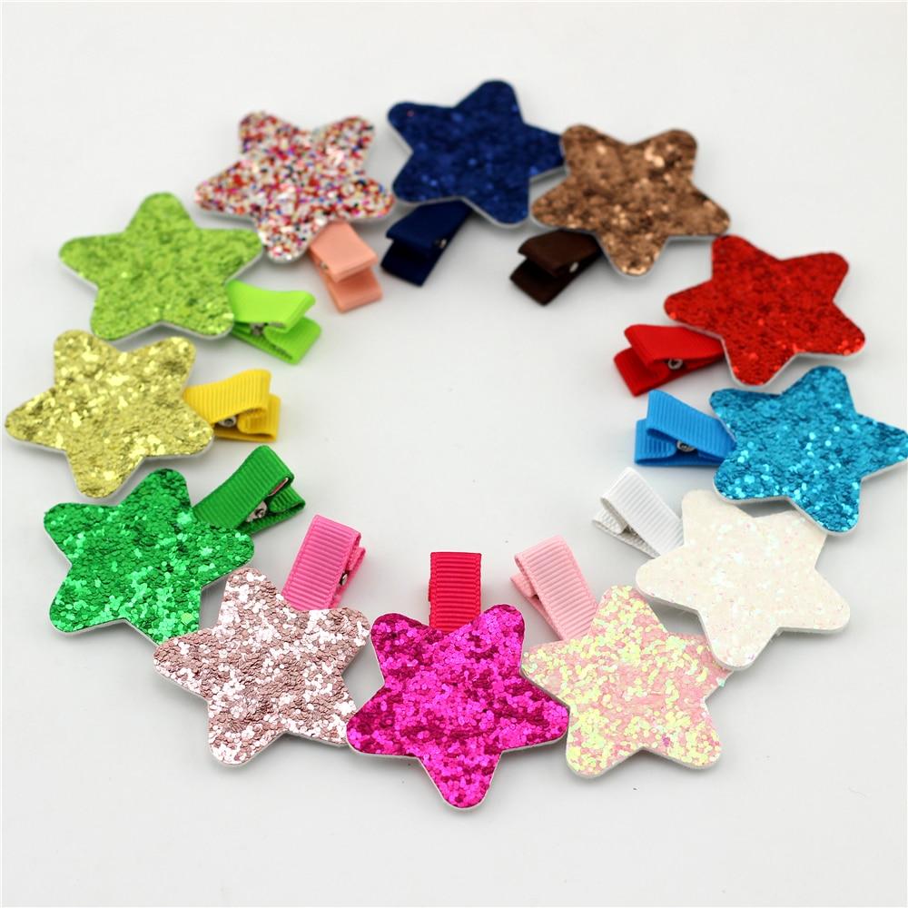 1pairs Star Baby girls Hair Clip Shinning Sequins Pentagram With Ribbon Clip Children Hairpins Clip Newborn Bebes Hair clips