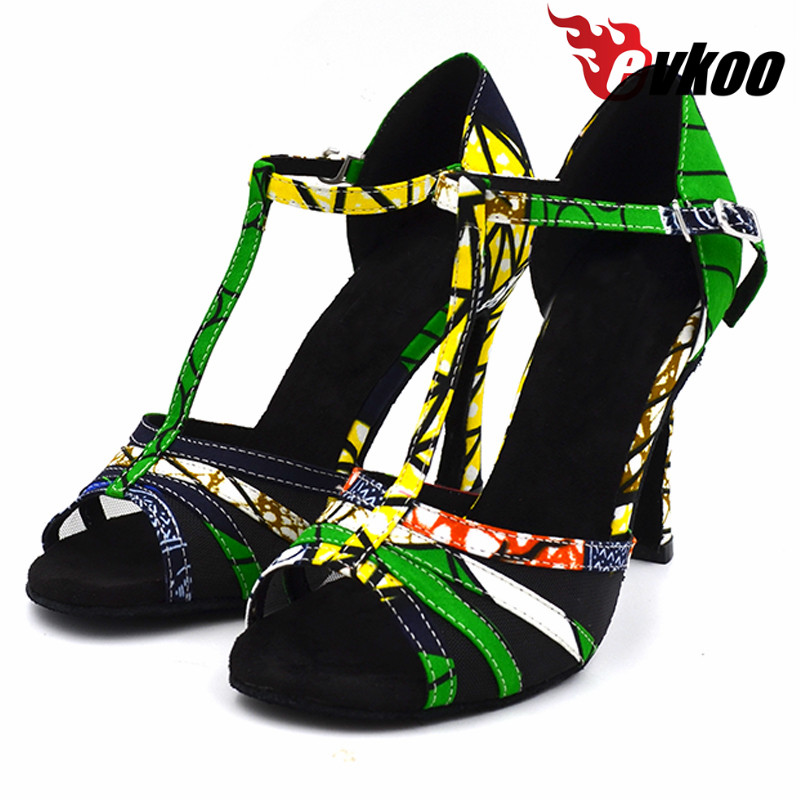Evkoodance 10cm high heel Africa print female soft sole Satin Women Latin Ballroom Salsa latino Dance Shoes for ladies Evkoo-434 satin with rhinestone dancing shoes for women ladies square heel ballroom dance shoes luxurious salsa shoes free shipping 6394