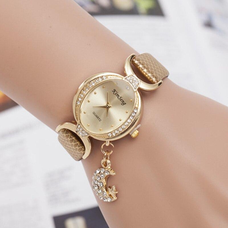 Relojes Mujer marca de lujo rhinestone Luna colgante pulsera de cuero relojes para las mujeres reloj de cuarzo vestido relojes reloj mujer xfcs