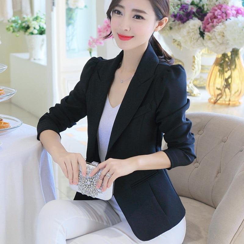 Blue Black Jackets Suit Coats Slim Fit Blazer Women Formal Jackets Office Work Notched Ladies Blazer Coat Feminino Abrigo Mujer Comfortable Feel Back To Search Resultswomen's Clothing