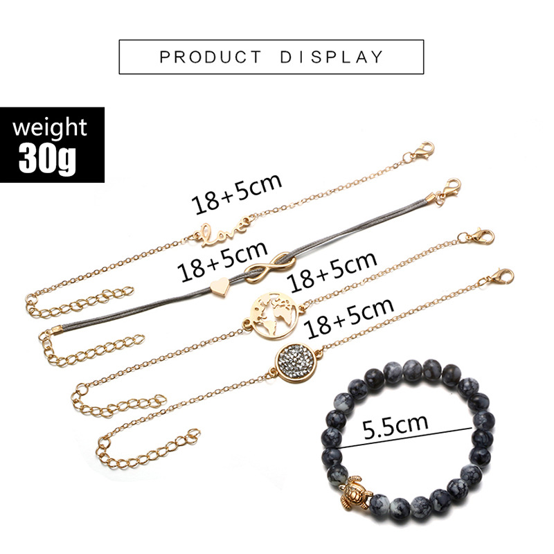 2018 New Bohemian Heart Love Link Chain Bracelet Bangles Women Vintage Natural Stone Beads Bracelet Set Fashion Homme Jewelry in Charm Bracelets from Jewelry Accessories