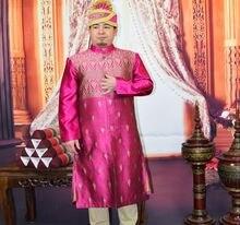 Индийский мужской длинный халат с воротником стойкой и длинными