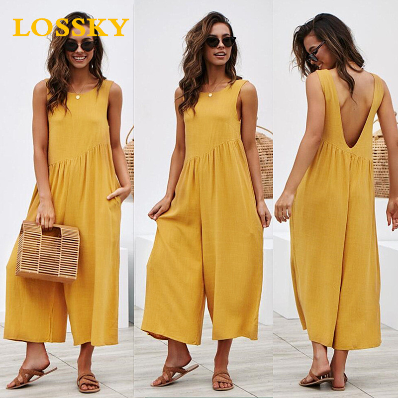 LOSSKY Wide Leg Solid   Jumpsuit   Sexy Sleeveless Backless Women   Jumpsuits   Casual Loose Pocket Basic Ladies Romper   Jumpsuit   Fashion