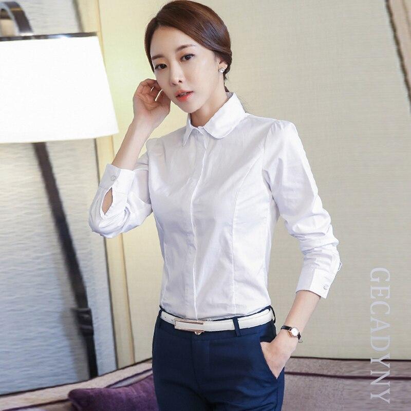 Mujeres Pure Color de Manga Larga Mujer Blusas Y Camisas Blancas azul Mujer Casu