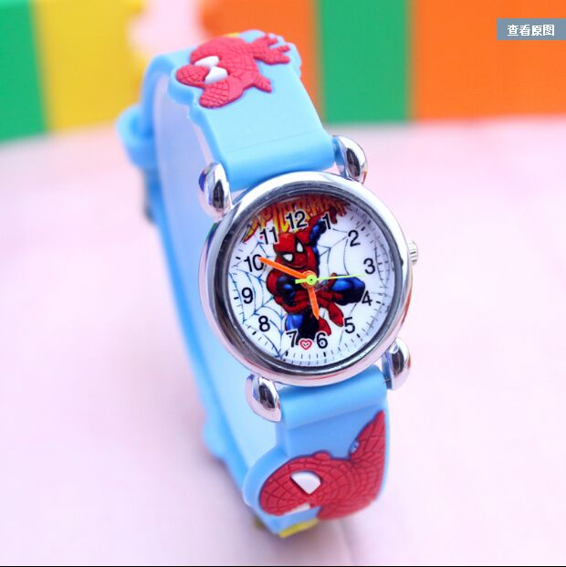 2018 Hot Sale Spiderman Watches Children Cartoon Watch Kids Cool 3D Rubber Strap Quartz Watch Clock Hours Gift Relojes Relogio