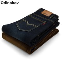 Odinokov Kích Thước Lớn Đàn Ông Mùa Đông Lông Cừu Dày Ấm Jeans Thời Trang Mới Thẳng Quần Denim Mỏng Nam Quần Jean Màu Đen Jeans Dài