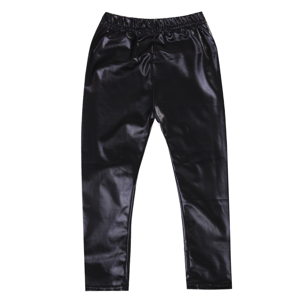 Infant Toddler font b Baby b font Kids Girls Black Stretchy Faux Leather Skinny Pants Leggings