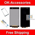 Ferramentas gratuitas & etiqueta para sony xperia z1 l39 l39h c6902 c6903 lcd display + touch screen digitador assembléia 1 pc/lote
