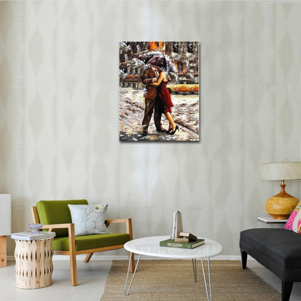 WONZOM Hugging Couples Diy Painting By Numbers Rain Street Oil Painting Cuadros Decoracion Acrylic Paint On Canvas Modern Art in Painting Calligraphy from Home Garden