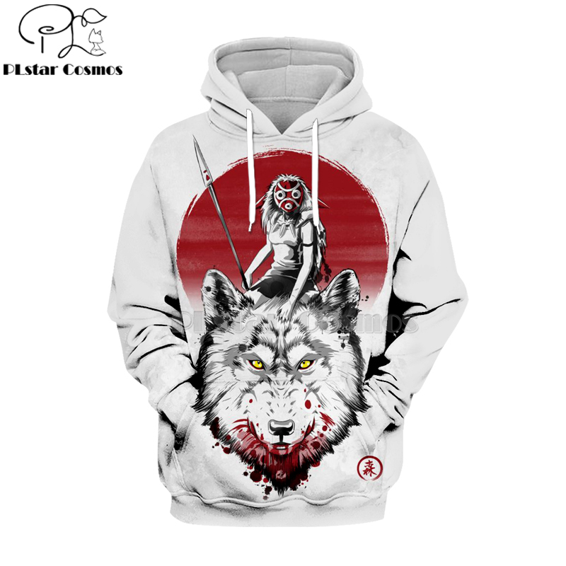 2019 Princess Mononoke 3d hoodies/sweatshirts Wolfs Blood&Swordsman Japanese Anime Fashion Novelty Style long seleeve Tops-1