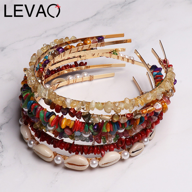 LEVAO Fashion Candy Color Resin Stone Metal Headband Hair Ornaments Bezel Turban Girls   Headwear   Women Hairband Hair Accessories