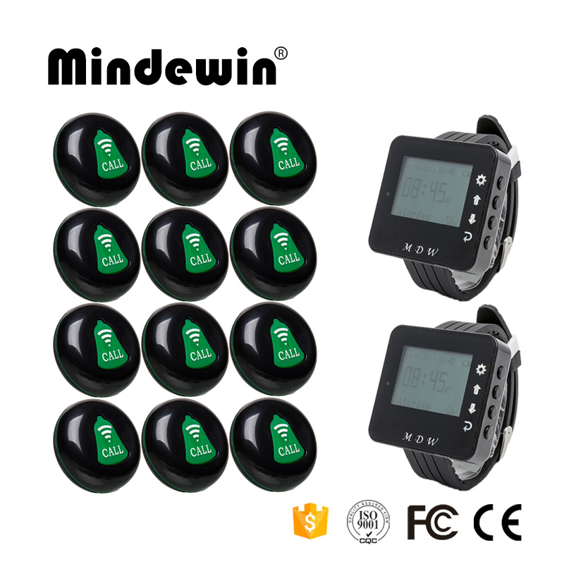 Mindewin Restaurant Table Calling Button Wireless Waiter Call System 12PCS Call Button M-K-1 and 2PCS Watch Pager M-W-1 wireless calling system hot sell battery waterproof buzzer use table bell restaurant pager 5 display 45 call button