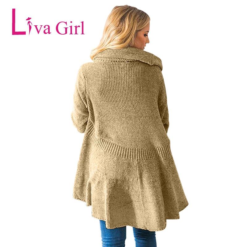 LIVA fille hiver veste décontractée Cardigans tricotés femmes automne à manches longues Chenille noir chandails bref drapé Sueter Mujer XXL - 4