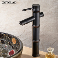 ZGTGLAD 1 Set Black Oil Brass Single Faucet Lever Bath Bamboo Shape Mixer Water Tap Kitchen Bathroom Supplies New Arrival