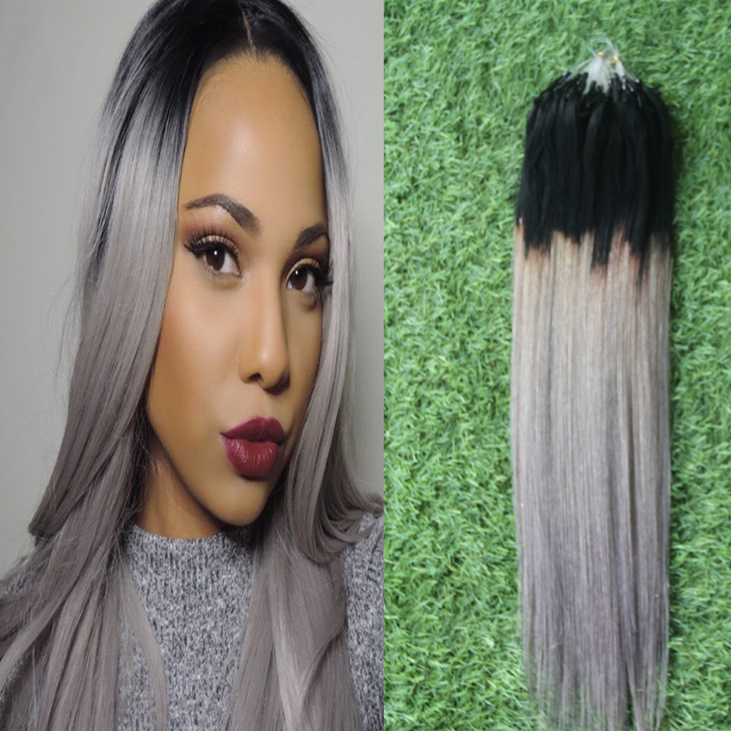 6a Online Silver Ombre Hair Extensions 100s Micro Bead Extensions ...