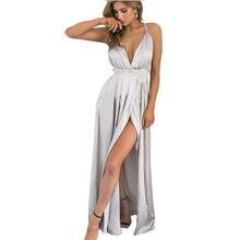 8bafe84e19d8 Deep V Neck Sleeveless Split Solid Maxi Gown Dress Satin Backless vintage  Wrap High Sexy Cross Cami Evening Summer Party Dress