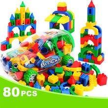 80pcs DIY Classic Big Building Blocks Self-Locking for Children Education Kids Toys Compatible Legoed Bricks with Brinquedos